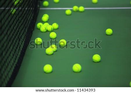 tennis court and tennis balls 2 - stock photo