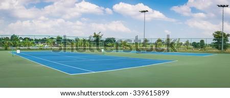 Tennis Court at tennis club , panorama - stock photo
