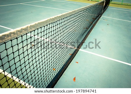 Tennis court, close-up of net   - stock photo
