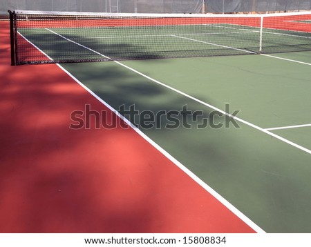 Tennis court colors with net