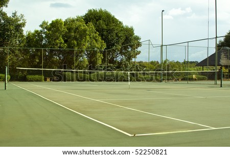 Tennis court empty on a overcast day - stock photo