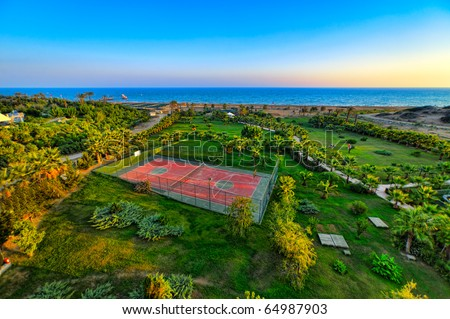 Tennis court in HDR - stock photo