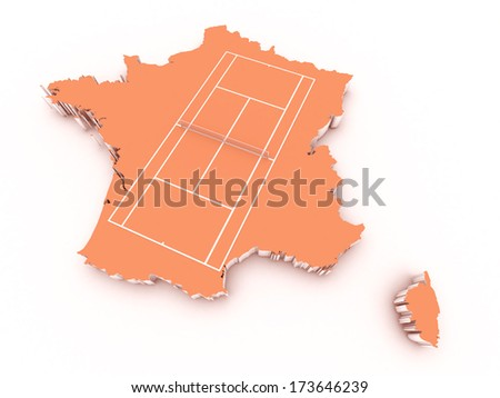 tennis court on 3d france - stock photo
