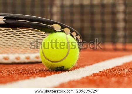 Tennis, Court, Tennis Ball. - stock photo