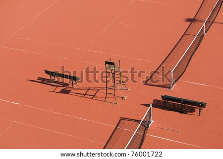 tennis court, view from above - stock photo