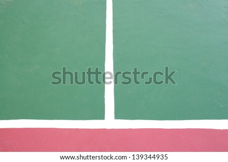Tennis court white intersecting lines.