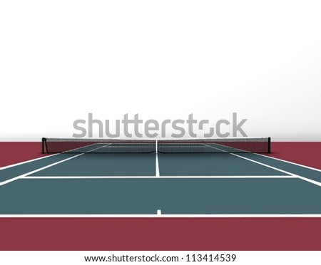 Tennis court, with blank copy space - stock photo