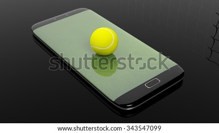 Tennis field with ball on smartphone edge display, isolated on black. - stock photo