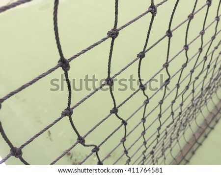 Tennis net in the court
