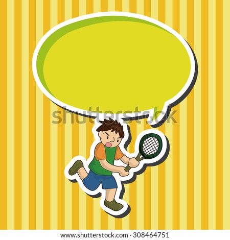 tennis player, cartoon speech icon