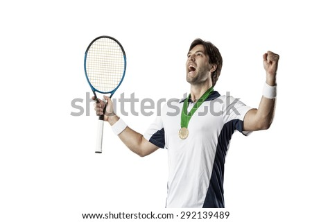 Tennis player celebrating with a gold medal, on a white background. - stock photo