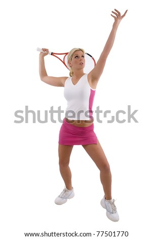Tennis Player going through the service action - stock photo