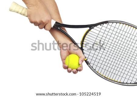 Tennis player hand preparing to take a serve - stock photo