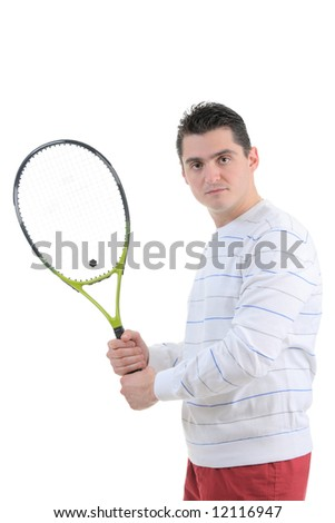 Tennis player isolated on white background - stock photo