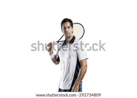 Tennis player on a white background. - stock photo