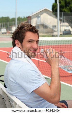 Tennis player on the bench