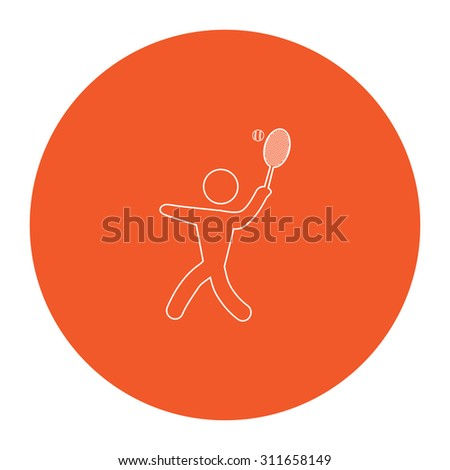 Tennis player, silhouette. Flat white symbol in the orange circle. Outline illustration icon - stock photo