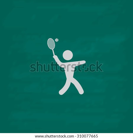 Tennis player, silhouette.  Icon. Imitation draw with white chalk on green chalkboard. Flat Pictogram and School board background. Illustration symbol - stock photo