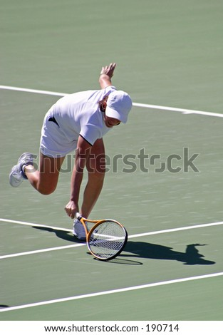 Tennis Player Volleying