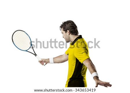 Tennis player with a yellow shirt, playing on a white background.