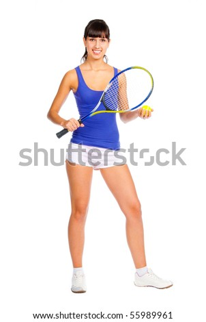 Tennis player young girl isolated over white background - stock photo