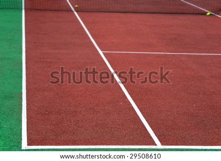 Tennis playground with depth o field. Sport concept - stock photo