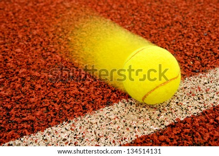 Tennis point. Tennis ball hitting the line for a point. - stock photo
