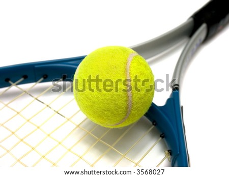 tennis racket and ball isolated on white