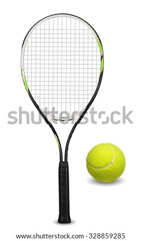 Tennis racket and ball on white background - stock photo