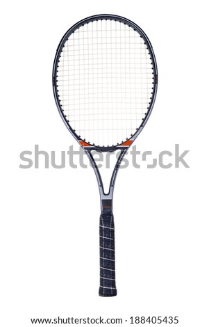 Tennis racket, isolated on white background - stock photo