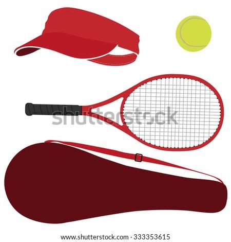 Tennis racket, tennis ball, tennis raquet, sport equipment, racket cover - stock photo