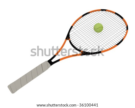 Tennis racket with ball isolated on white background