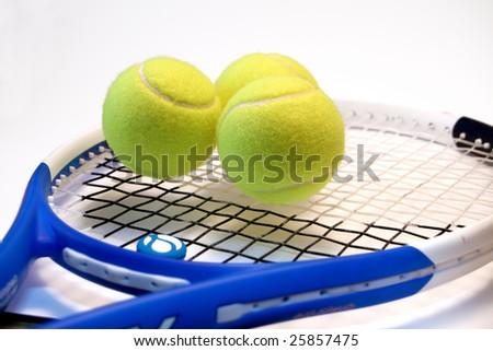 Tennis Racket with balls - stock photo