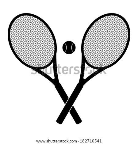 tennis rackets and ball - stock photo