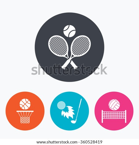 Tennis rackets with ball. Basketball basket. Volleyball net with ball. Golf fireball sign. Sport icons. Circle flat buttons with icon. - stock photo