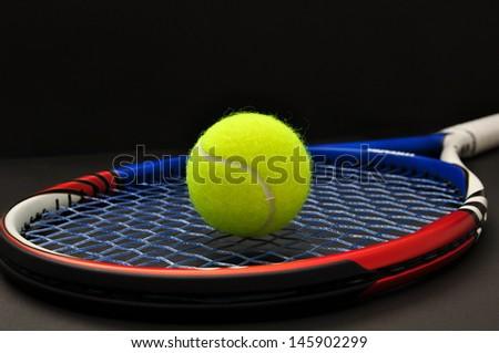 tennis racquet and ball - stock photo