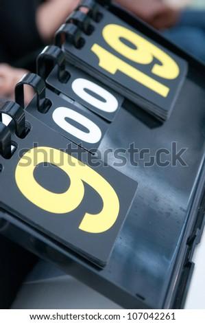 Tennis score board. closeup - stock photo