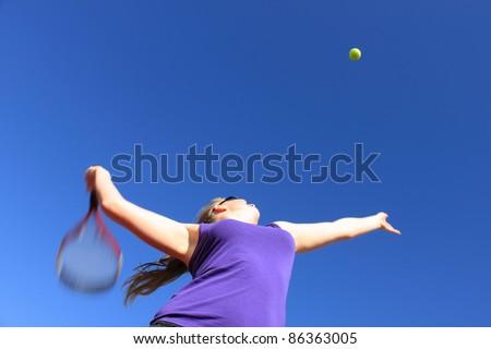 Tennis Serve Blurred Motion - stock photo