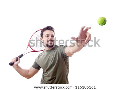 Tennis serve.White background. - stock photo