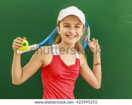 Tennis - young girl tennis player - stock photo