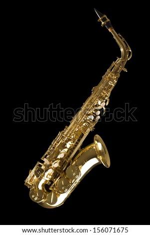 Tenor sax golden saxophone isolated on black background - stock photo