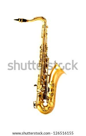 Tenor sax golden saxophone isolated on white background - stock photo