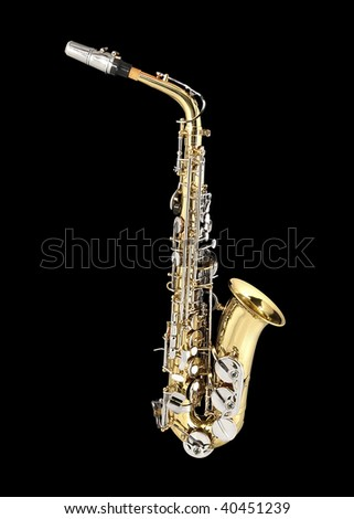 Tenor Sax , wind instrument. On a black background. - stock photo