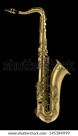 tenor saxophone isolated on black background - stock photo