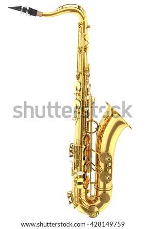 Tenor saxophone. Isolated on white background. Include clipping path. 3d render