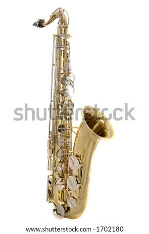 Tenor saxophone on a white background - stock photo