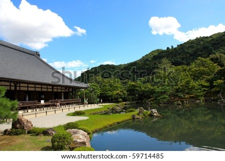 "Tenryuji, located in the center of Arashiyama, was built in 1339 and has been ranked first among Kyoto's ""Five Great Zen Temples"". - stock photo"