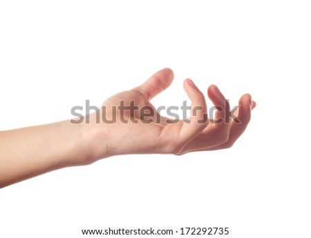 Tense human hand isolated - stock photo