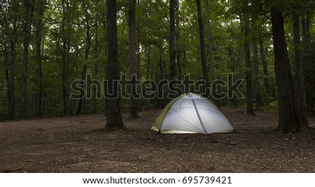 Tent at an undeveloped campsite on Uwharrie National Forest