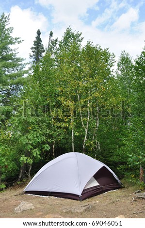 Tent at Campsite in the Wilderness on a Summer Day
